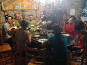 """Abel serving a """"family dinner"""" to the team and three guests."""