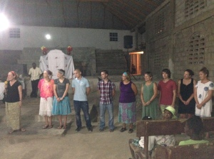 Sunday night at Pastor Daniel's (dir of Bible institute) church. Team being Introduced. (It is hot!!!)
